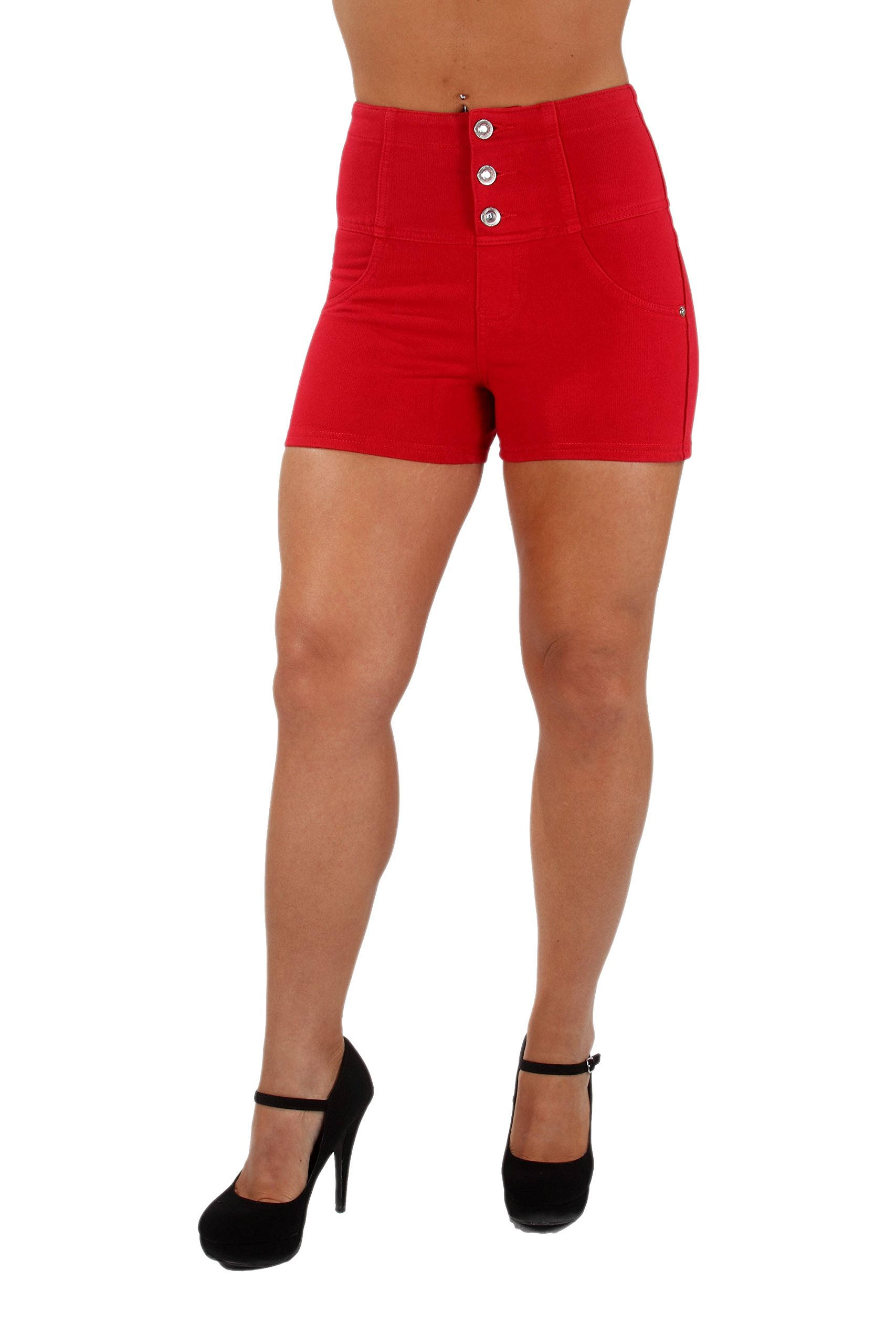 U-Turn Jeans Style 3004 Colombian style Sexy Stretch Moleton Butt lift Push-Up High-Waist Booty Shorts in Red Size XL