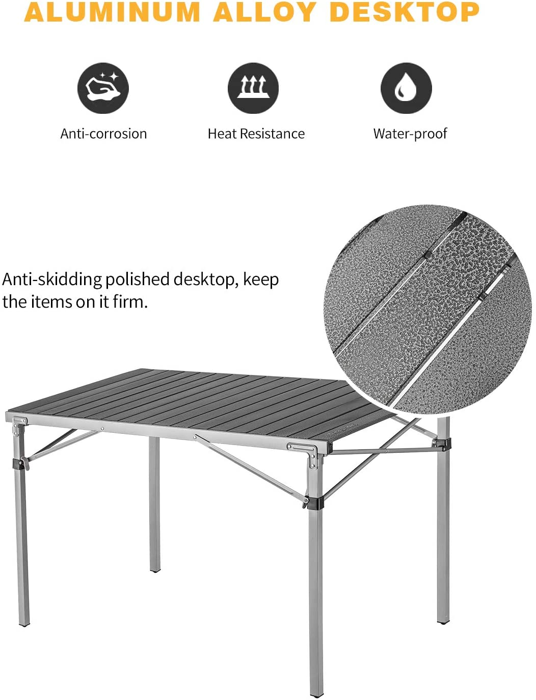 KingCamp Tavolo da Campeggio XL con Struttura in Acciaio Arrotolabile Desktop in Lega di Alluminio Pieghevole con Borsa per Il Trasporto Nero Satinato, Desktop 107 x 70 cm Supporto Fino a 80 kg