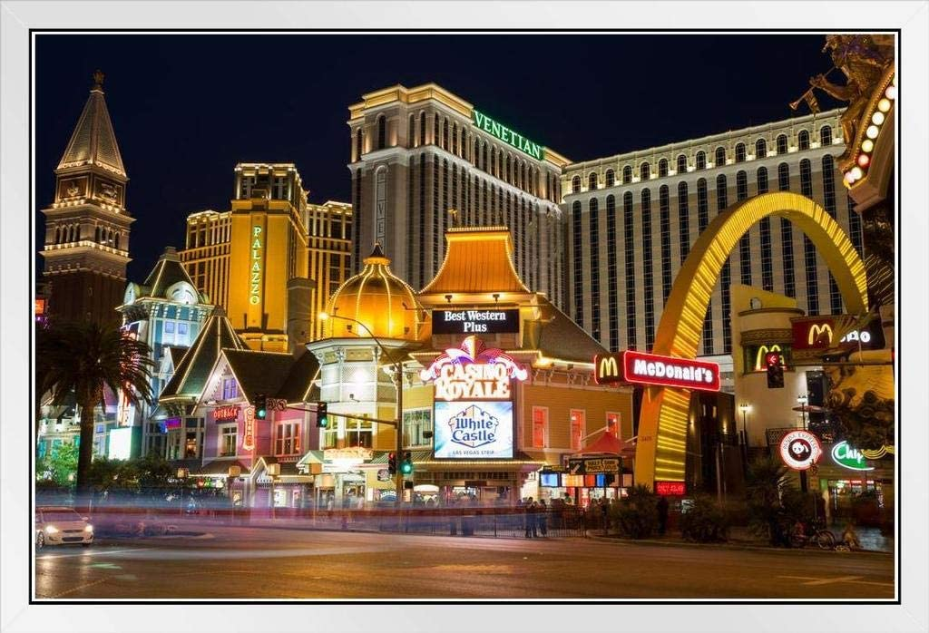 Las Vegas Nevada Strip Illuminated at Night Venetian Palazzo Hotels Photo Art Pr