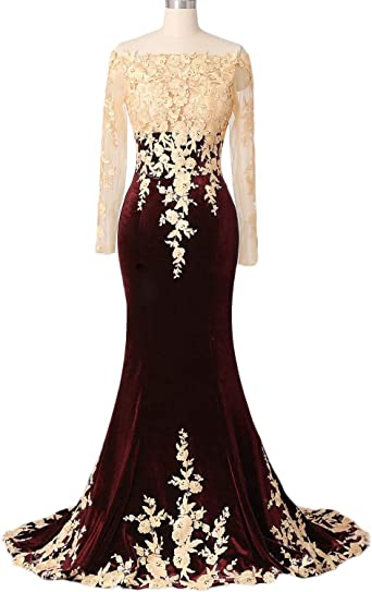 OYILAN Womens Off Shoulder Long Sleeve Lace Bodice Velvet Evening Prom Dress 052