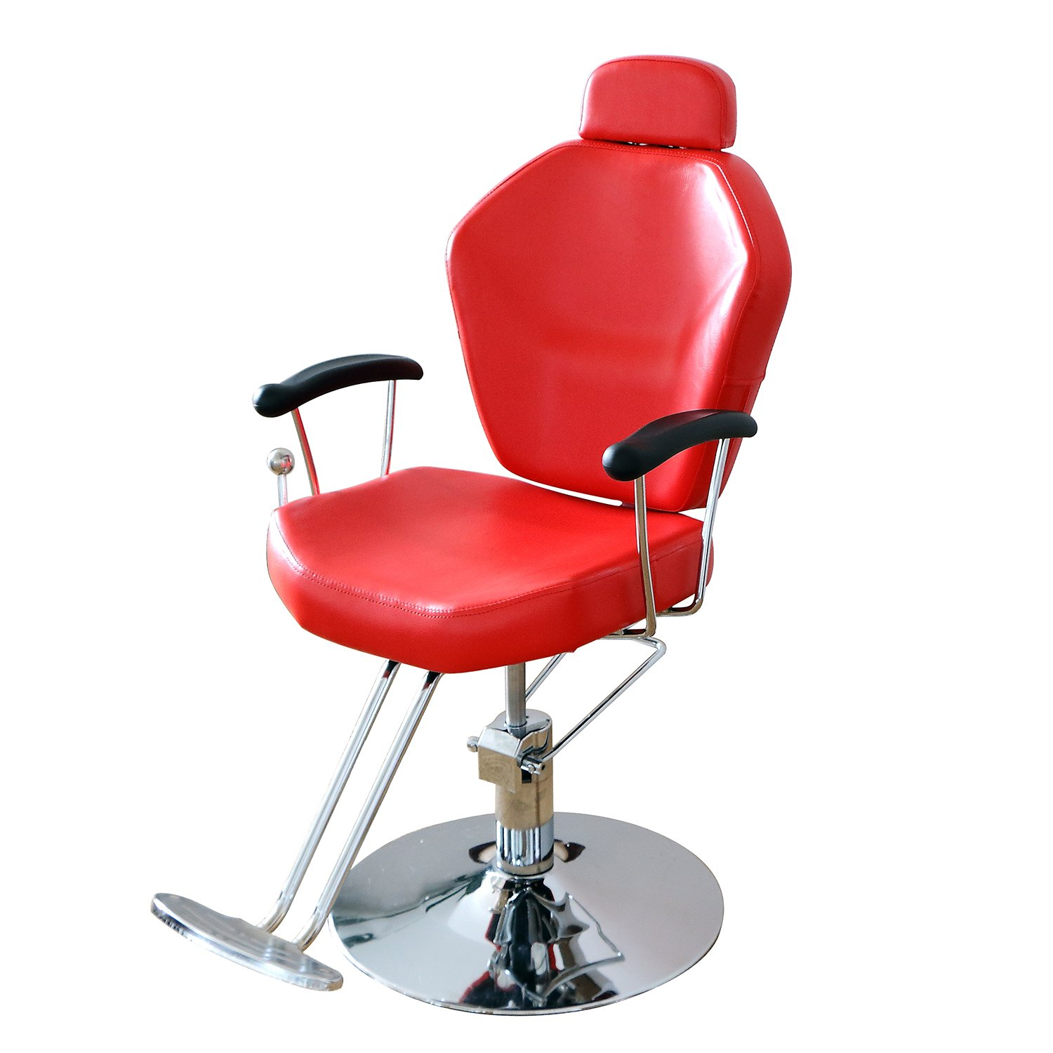 Walcut New Red Hydraulic Barber Chair Styling Salon Beauty Equipment Spa Funiture With Adjustable Headrest & Backrest