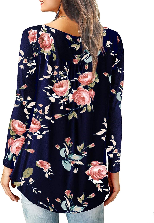 Dasbayla Ladies Short Sleeve V Neck T Shirts Floral Print Tunic Tops
