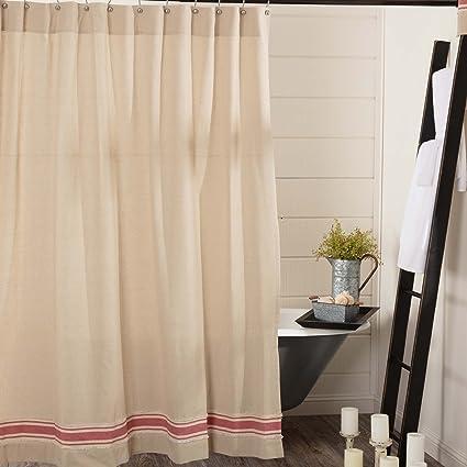 Piper Classics Farmhouse Red Grain Sack Stripe Shower Curtain 72quot X