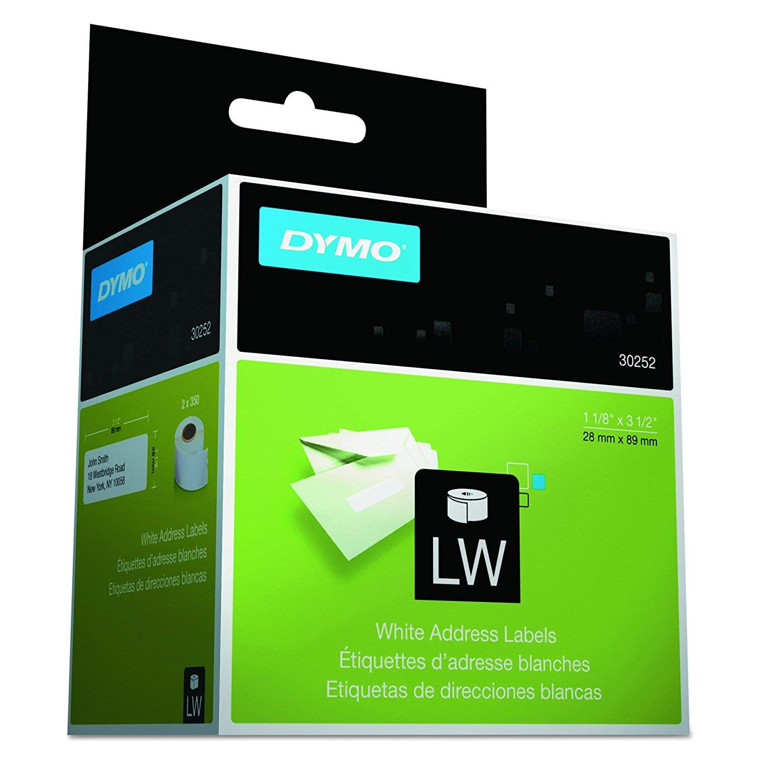 DYMO 30252 LabelWriter Address Labels, 1 1/8 x 3 1/2, White, 350 Labels/Roll, 2 Rolls/Pack