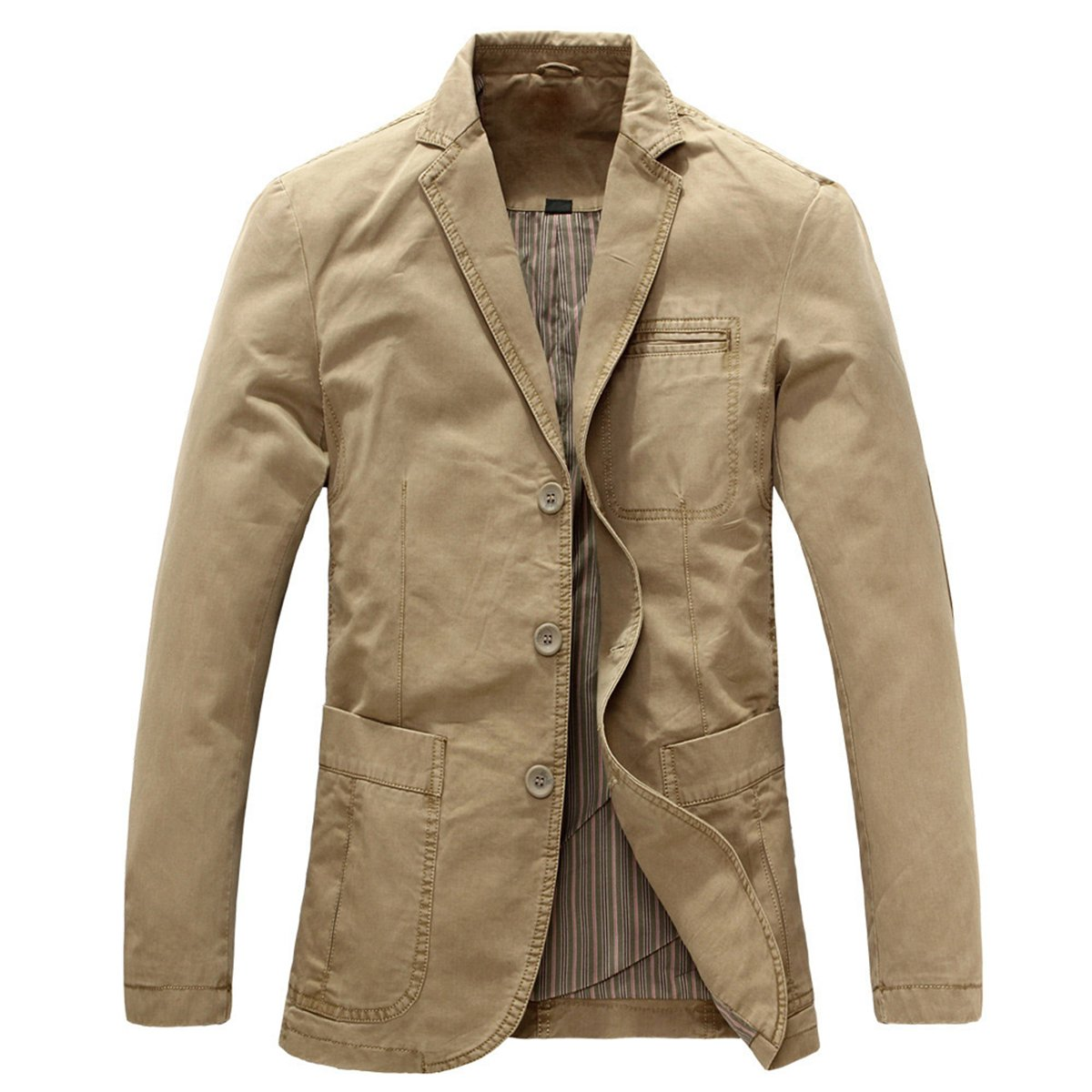 Mens Casual Blazer Slim fit Long Sleeve Jacket Washed Cotton 3-Button Casual Suits Blazer Jackets Khaki