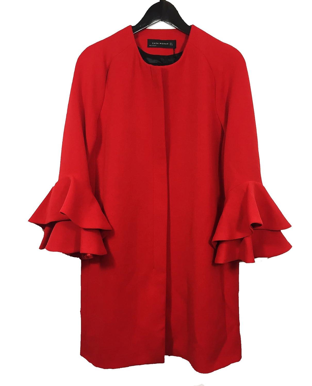 Zara - Abrigo - para mujer rojo rosso Large: Amazon.es: Ropa y accesorios