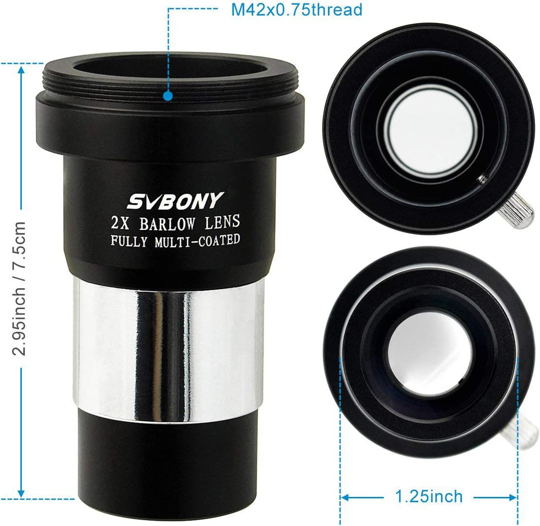 SVBONY 2X Barlow Lens 1.25 inch Doubles The Magnification Multi Coated Broadband Green Film with M42 Thread for Standard Telescope Eyepiece