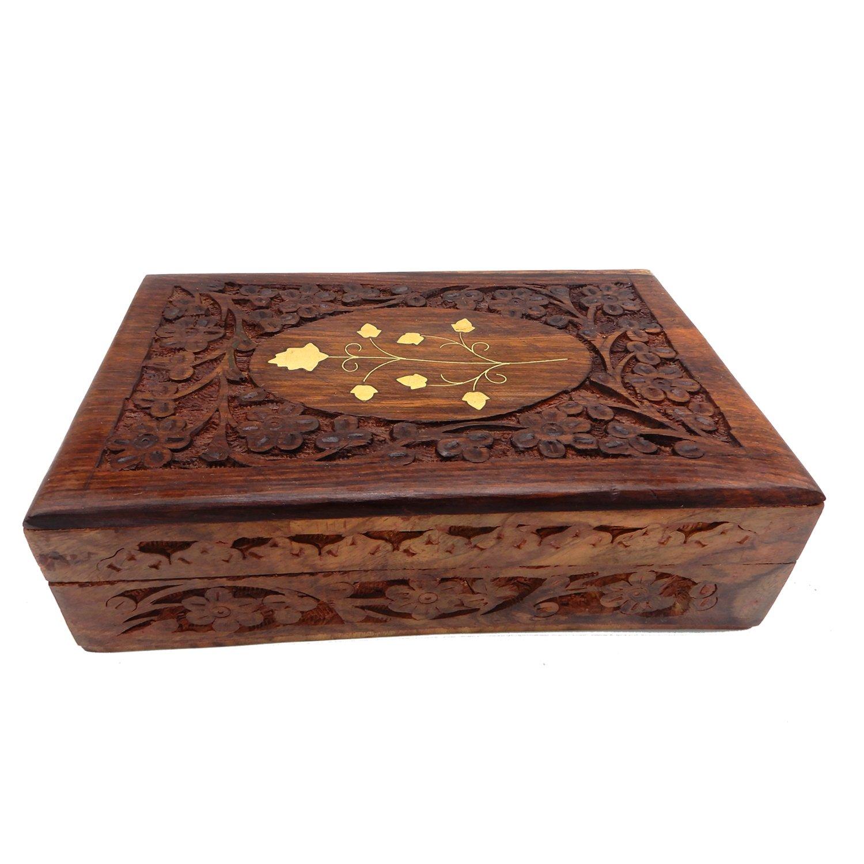 Portagioie in legno fatto a mano, scatola vintage in ottone scolpito, scatola di immagazzinaggio da 8 x 5 pollici, scatola organizzatore Keepsake, scatola portagioie colore marrone, giorno di Pasqua / festa della mamma / regalo del venerdì santo PMk PMK051