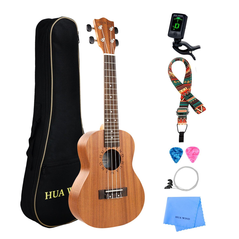 Professional Concert Ukulele Kit Mahogany HUAWIND Uke Starter Kit Hawaiian Ukulele Beginner Kit for Players Kids Adults Beginners Students Children (Concert) USHWMUKE23-01
