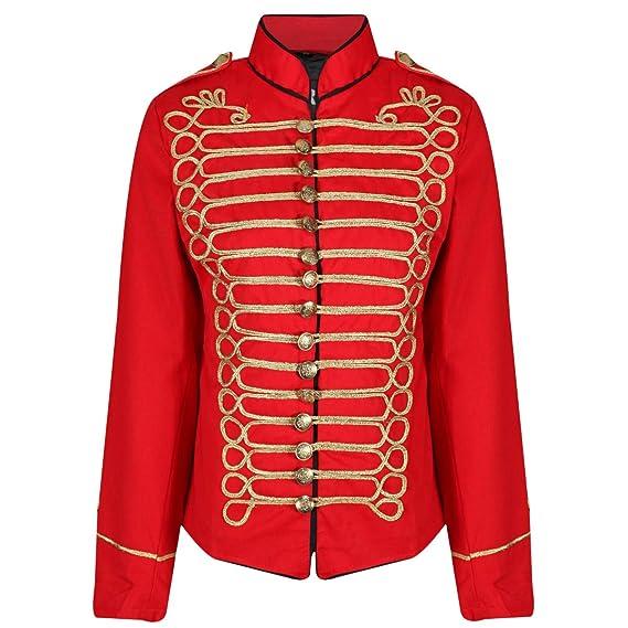 Ladies Emo Punk Goth Napoleon Military Drummer Parade Jacket