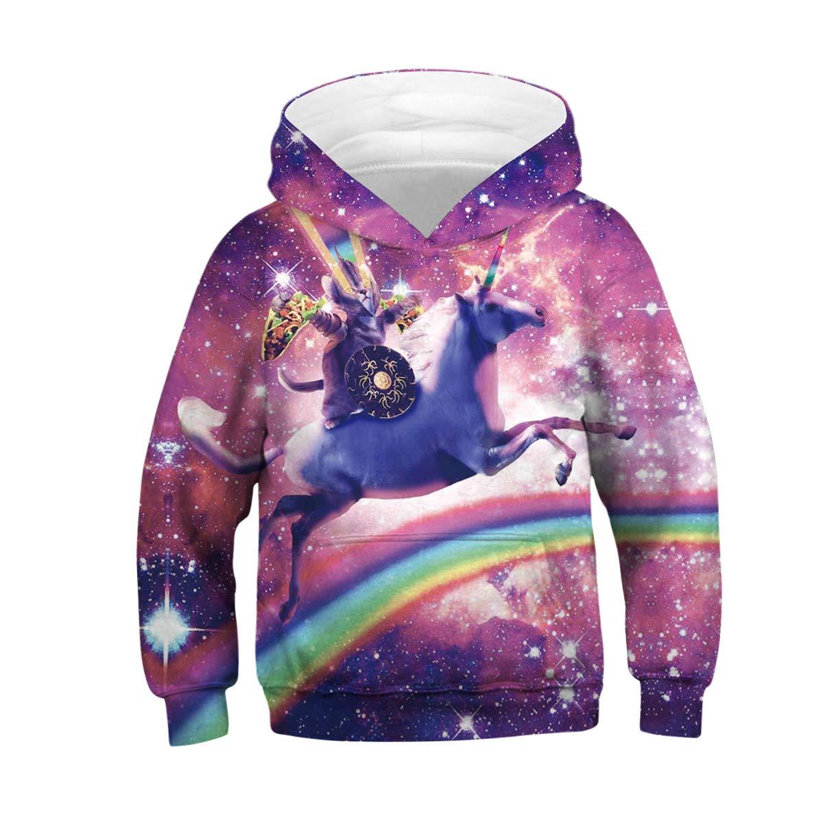 Leezeshaw Unisex Kid's 3D Printed Novelty Hooded Sweatshirt Hoodie with Pocket