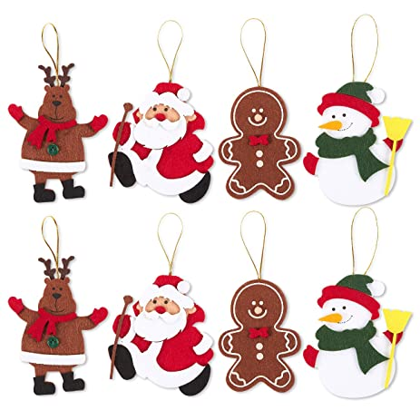 pack of 8 felt ornament set includes reindeer santa claus gingerbread man