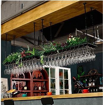 SGMYMX Portabotellas Estante del Vino/Techo Soporte de Montaje Colgando Hierro metálico Botella de Vino Bastidor de Soporte de Copa/Regulable en Altura Botellero (Size : 60 * 35cm): Amazon.es: Hogar