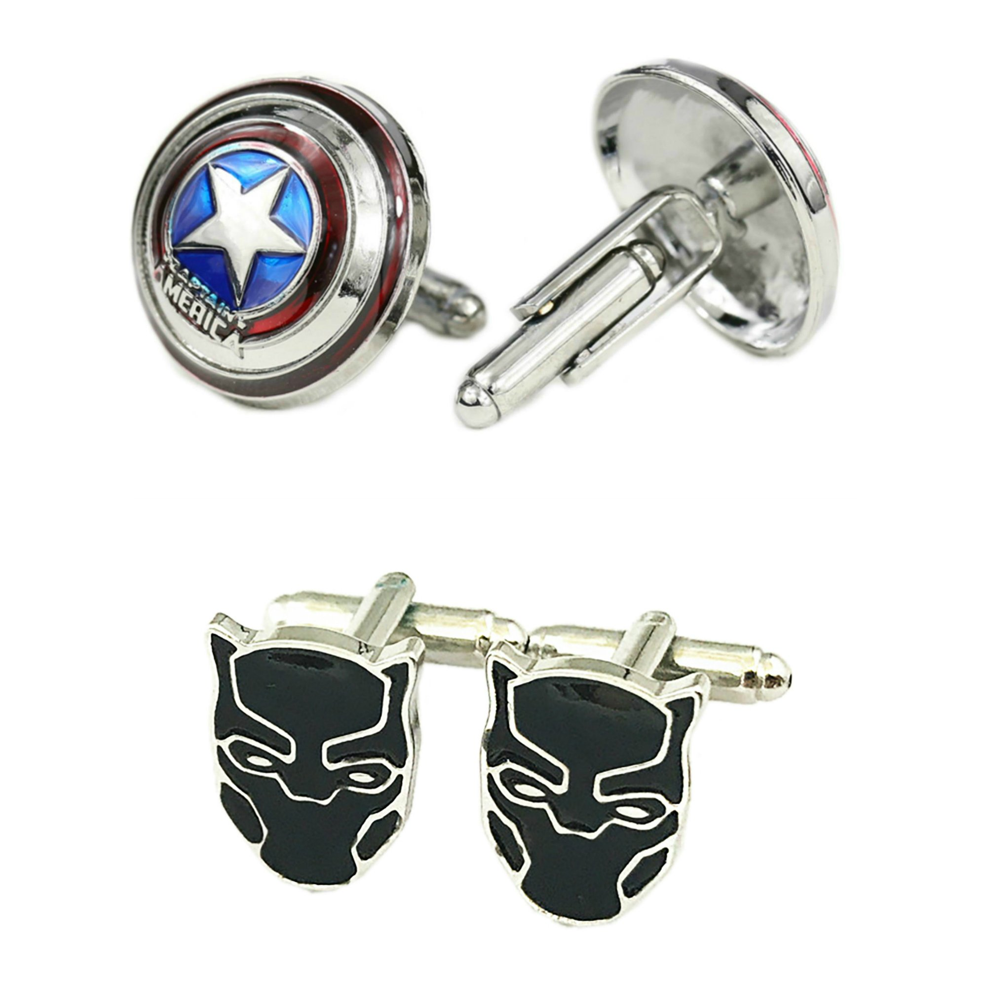 Outlander Gear Marvel Comics 2 Pairs Captain America 3D & Black Panther Superhero 2018 Movie Mens Boys Cufflinks