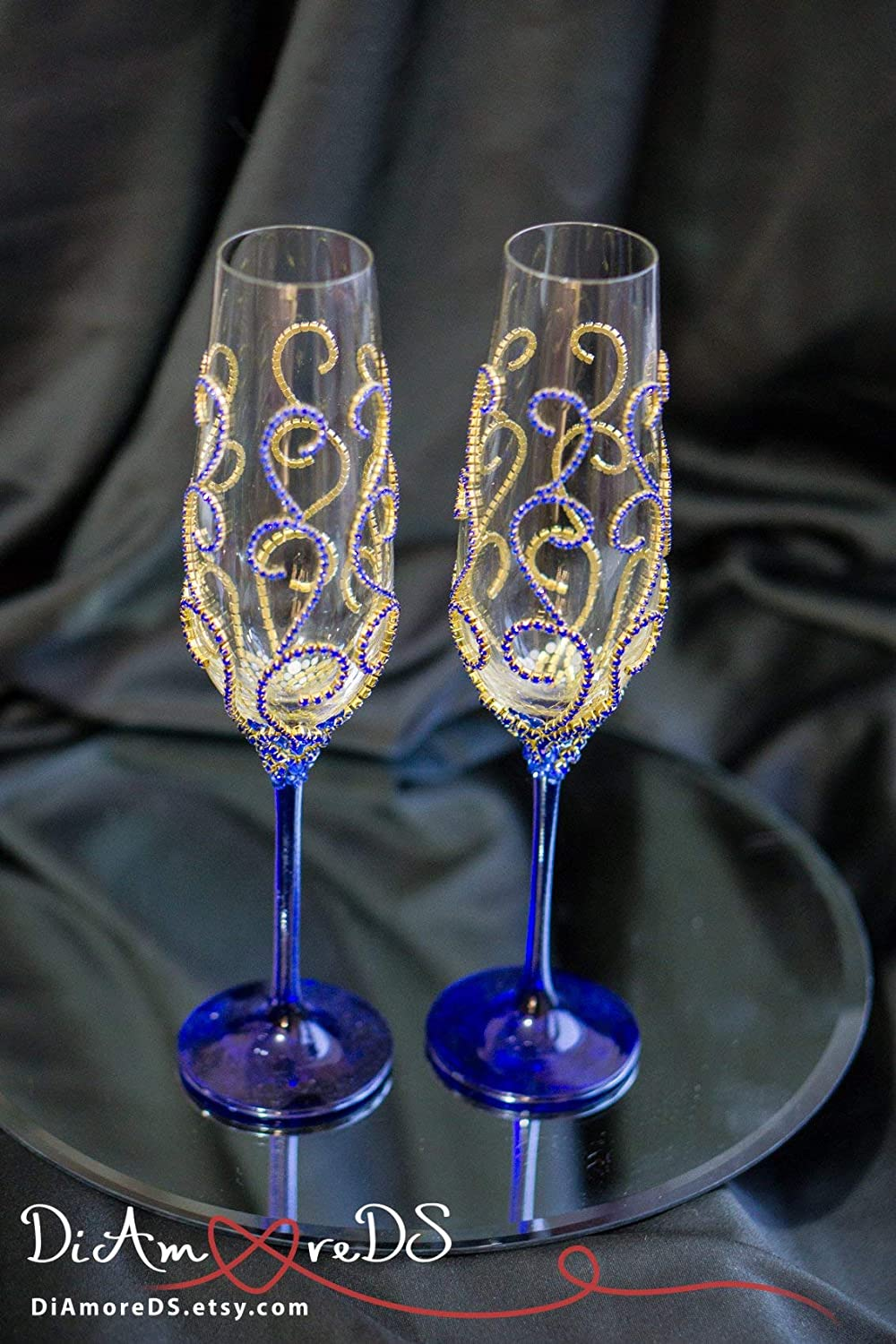 Amazon Com Navy Blue And Gold Wedding Decor Engraved Champagne