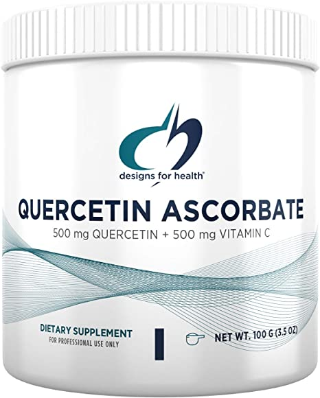 Designs for Health Quercetin-Ascorbate Powder - 500mg Quercetin + Vitamin C Flavonoid Antioxidant Supplement - May Help Support Healthy Immune Response - Easy Drink Add-in (100 Servings / 100g)