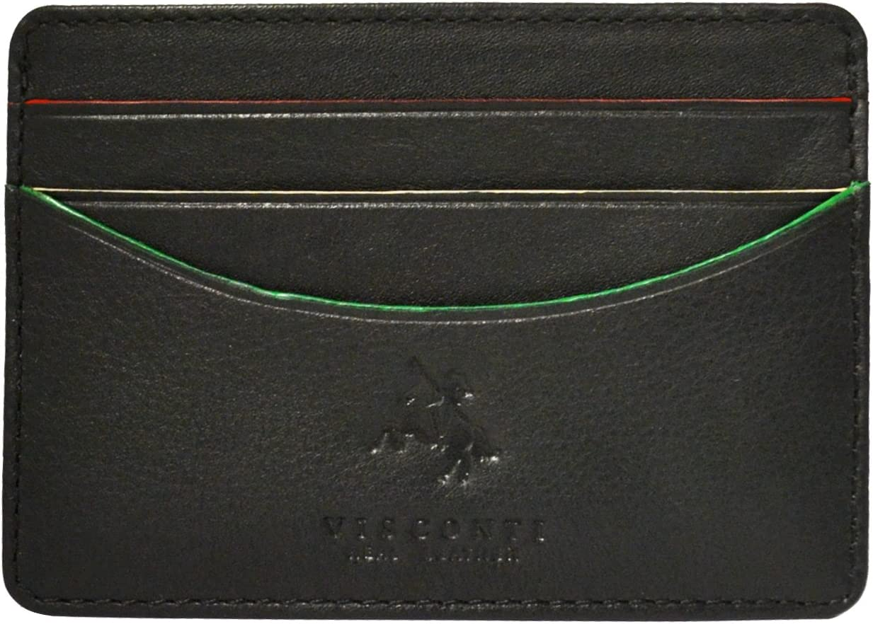 Visconti AG15 Mens Black Leather ID Credit Card Holder Case Pocket Wallet Gift