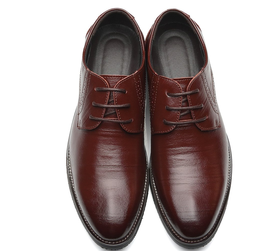 DADAWEN Men's Classic Modern Lace Up Wingtip Dress Oxfords Shoes Dark Brown US Size 10.5