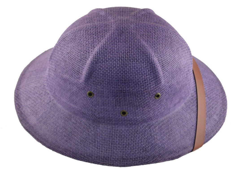 MM Summer 100% Straw Pith Helmet Postman Hat Purple