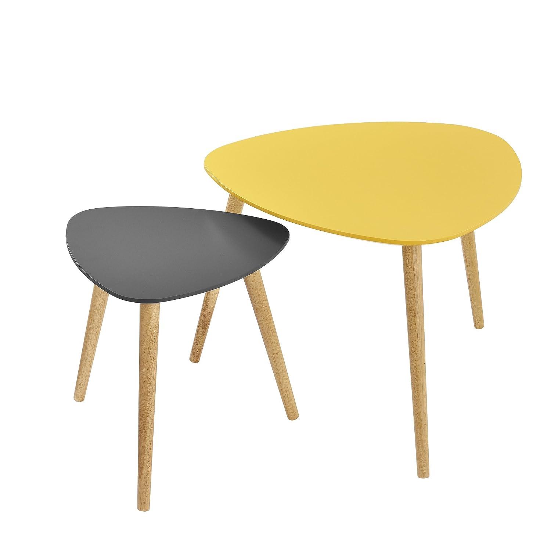 [en.casa] Tavolino da Salotto Nobile in Un Set di 2 - Color Senape e Grigio - Gambe del Tavolo do Legno massello - faggio