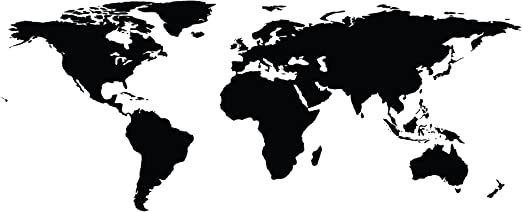 World Map of Earth Wall Decal Sticker 21inX51in Removable Made in the USA Black