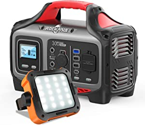 ROCKPALS 300W Portable Power Station 1000LM LED Camping Lantern Rechargeable, Great Solar Generator for Backup Power, Outdoor Adventure and Camping