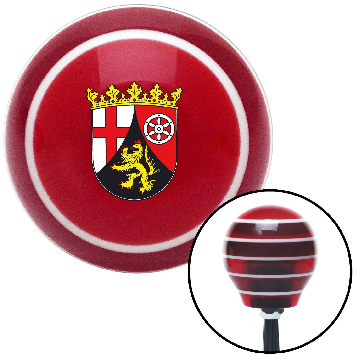 Rhineland Palatinate Coat of Arms American Shifter 114103 Red Stripe Shift Knob with M16 x 1.5 Insert
