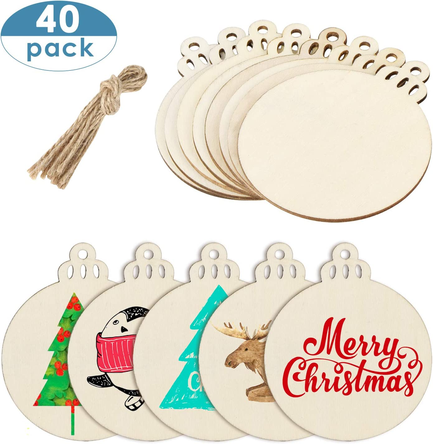 MELLIEX 40pcs Unfinished Wooden Round Ornaments Slices Natural Wood Blanks Bauble Discs with Holes for Christmas Decoration Hanging DIY Craft 71nkTv6mYgL