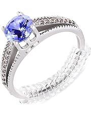 Ajustador de tamaño del anillo para anillos sueltos. Accesorio reductor del tamaño del anillo, espaciador, protector, ajustador - Paquete de 12, 2 tamaños - Juego de tensor de silicona en espiral con paño de pulido incluido.
