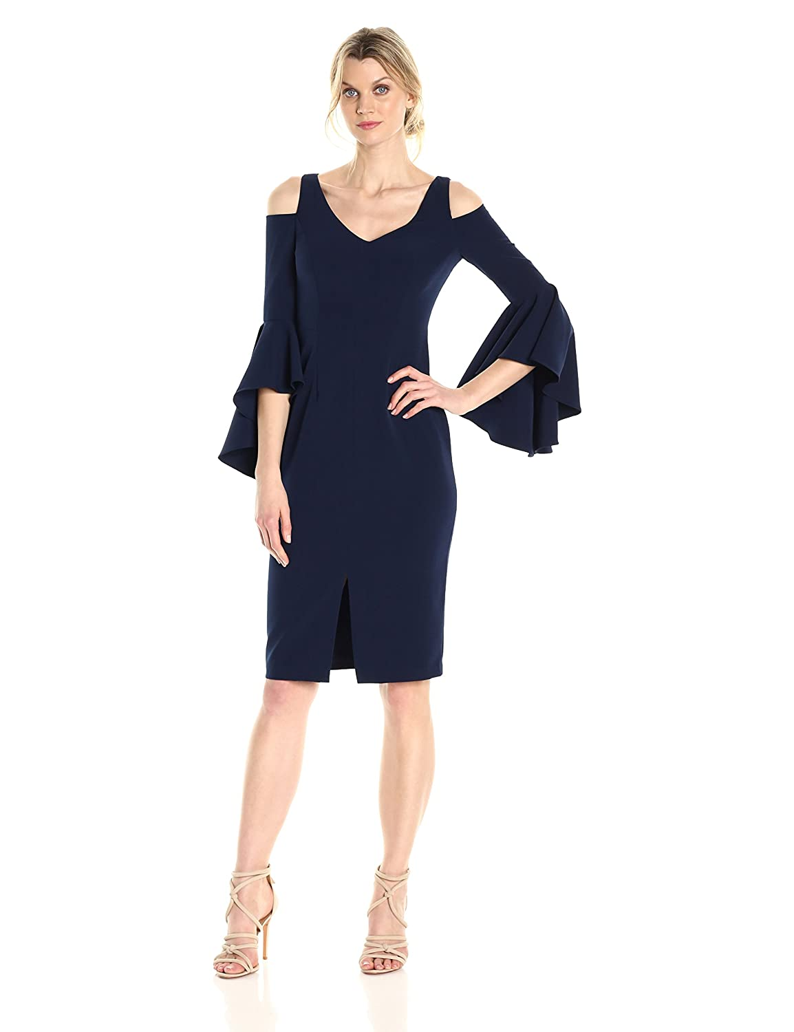 Patriot bluee Maggy London Women's Cold Shoulder Sheath with Ruffle Sleeve
