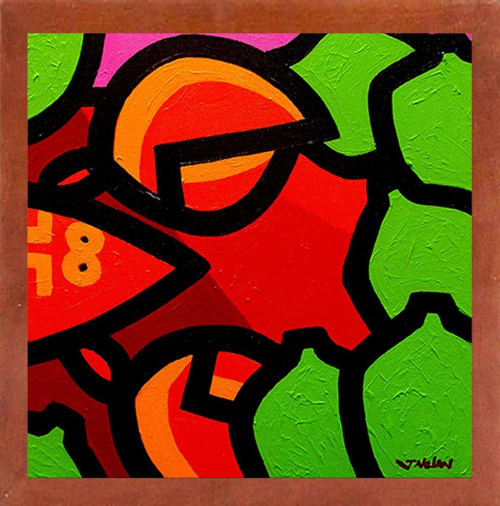 Frame USA Lobster and Seven Limes-JOHNOL125589 6x6 by John Nolan in a Affordable Brazilian Walnut Medium Print 6x6