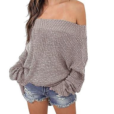 5b0fcb12c3 Poperdision Women s Off Shoulder Sweater Batwing Long Sleeve Loose  Oversized Pullover Sweater Knit Jumper Khaki S