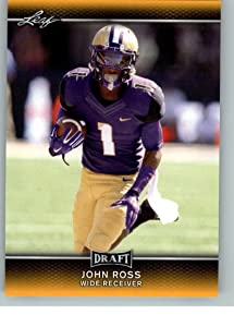 JOHN ROSS 2017 LEAF DRAFT GOLD PARALLEL ROOKIE CARD #39! NFL FASTEST 40 YARD DASH - 4.22 SEC! W/H TOP LOADER!