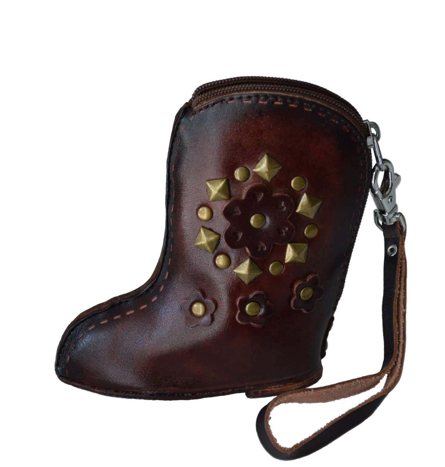 Genuine Leather Wristlet Change Purse, Western Boot Shape, Dark-brown, Zipper
