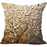 Oil Painting Floral Printed Cushion Cover LivebyCare Linen Cotton Cover Throw Pillow Case Sham Pattern Zipper Pillowslip Pillowcase For Home Sofa Couch Chair Back Seat