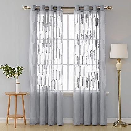 Deconovo Lot de 2 Rideau Motif Geometrique Salon Design Moderne Rideau  Voilage Cuisine Transparent Rideau Jacquard Chambre 140x180cm Gris