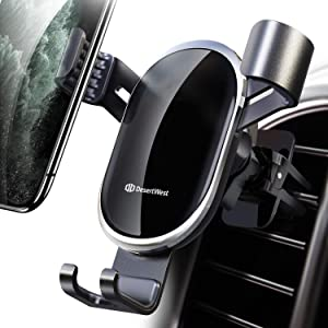 DesertWest Car Vent Phone Mount Auto Clamping Gravity Hands-Free Phone Holder Stably and Securely Compatible with iPhone 11 Pro Max/XR/XS Max/XS/X/8/8 Plus/7/7 Plus, Galaxy S20 S10 Note 10 Plus