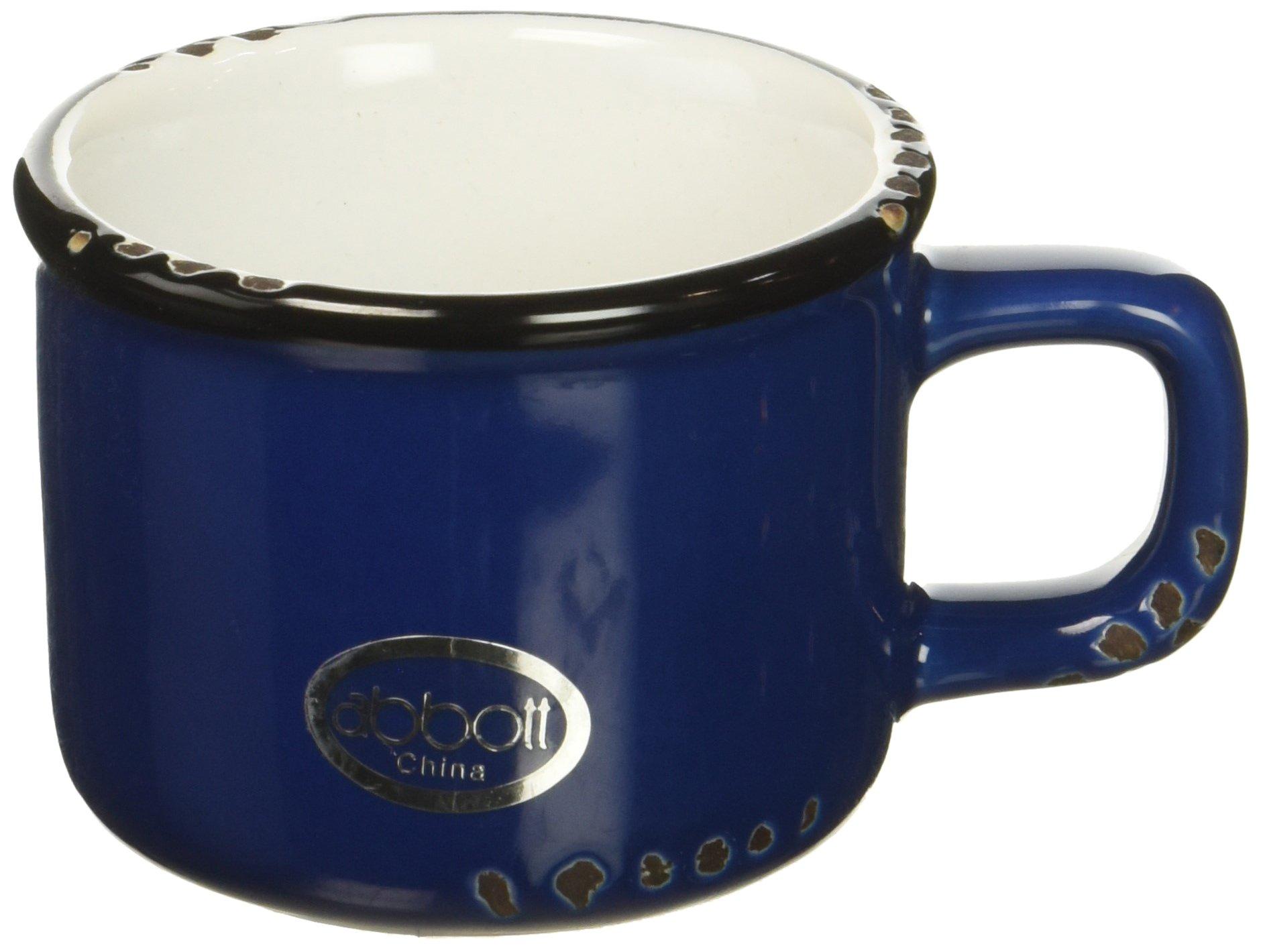 Abbott Collection Enamel Look Stoneware Espresso Cup, Blue