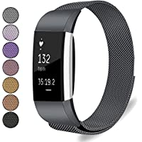 Mosonoi Compatiable with Fitbit Charge 2 Bands, Adjustable Metal Straps Replacement Bands Charge 2 Accessories Fit for Fitbit Charge 2 Smartwatch Women Men