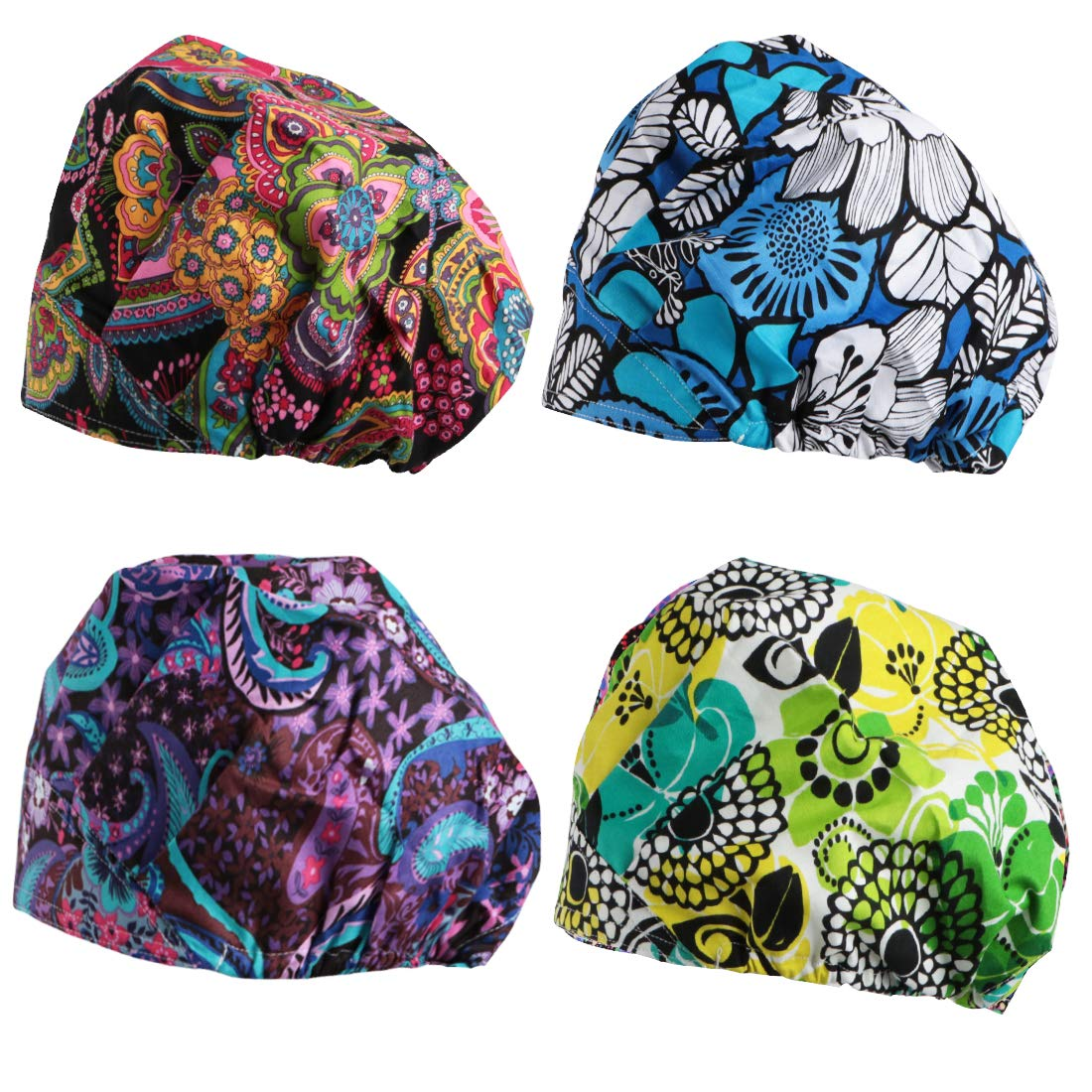 kilofly 4pc Women's Adjustable Scrub Cap Sweatband Bouffant Hats Value Set by kilofly