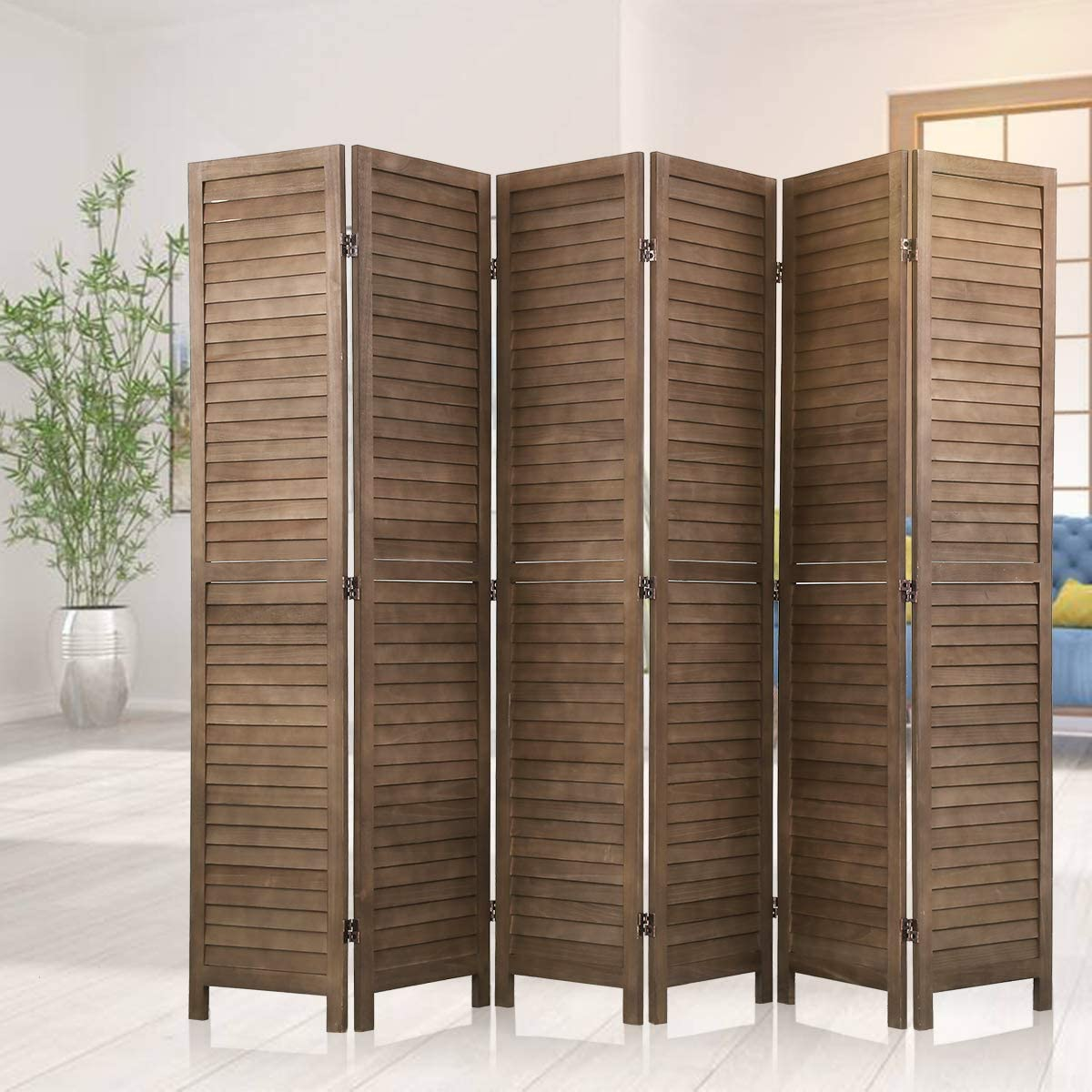 6 Panels 5.75 ft.Tall-15.75 Wide Room Divider Screen Partitions,Freestanding Folding Instant Mesh Blackout Blinds Indoor Decorative Separator Wall Divider