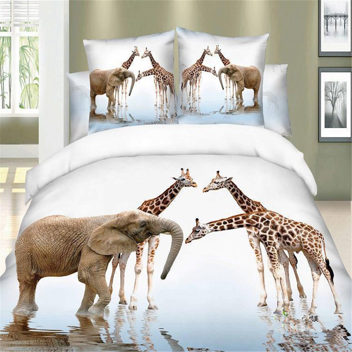 Zebratown 3d Printed Wolfs Animals 100%cotton Bedding Sets 4pcs Duvet Quilt Bed Linen Covers for Queen Bedclothes Comforters Bedsheet (Giraffes and elephants) by Zebratown (Image #1)