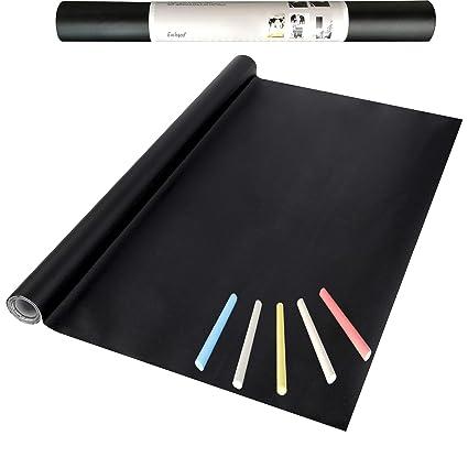 Eachgoo Negra Papel Pizarra Adhesivo, Vinilo Pizarra Cocina para Escribir y Borrar (Incluye 5 tizas),44.5X 210 cm