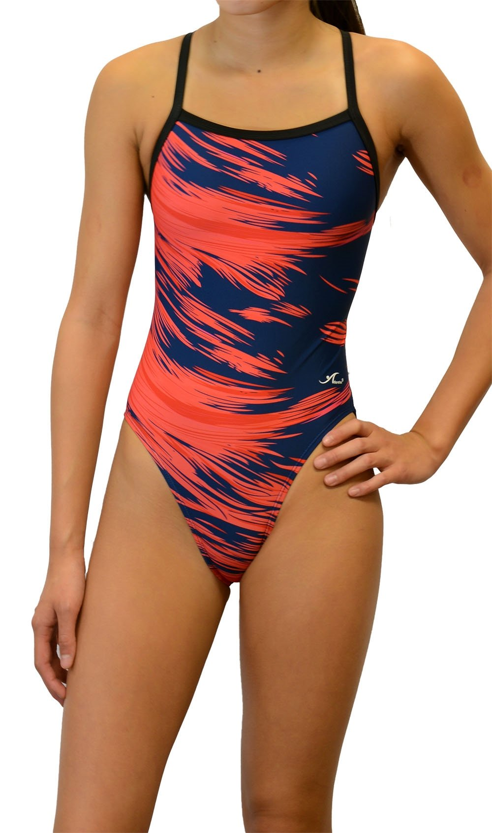 Adoretex Women's Pro One Piece Thin Strap Athletic Swimsuit (FN020) - Red - 36