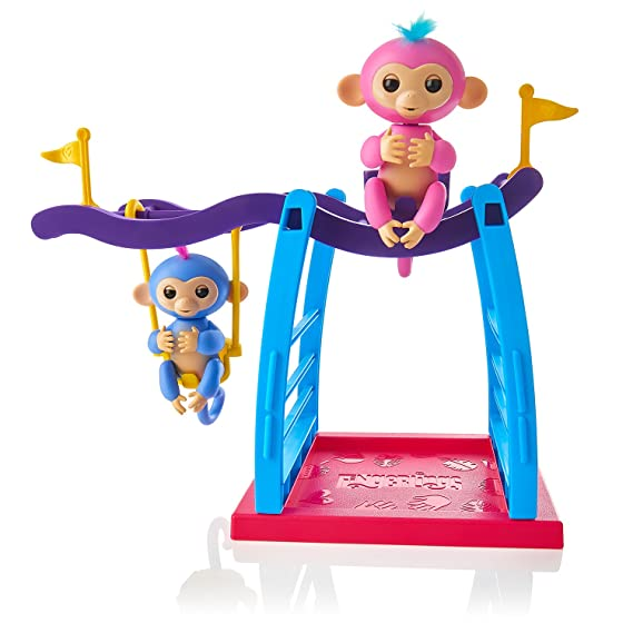 WowWee Fingerlings Playset - Monkey Bar/Swing Playground with 2 Fingerlings Baby Monkey Toys – Liv (Blue) and Simona (Bubblegum Pink)