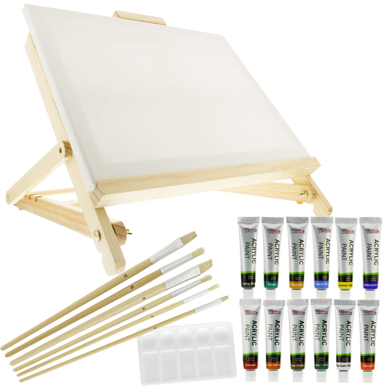 US Art Supply 21-Piece Acrylic Painting Table Easel Set with, 12-Tubes Acrylic Painting Colors, 11''x14'' Stretched Canvas, 6 Artist Brushes, Plastic Palette with 10 Wells