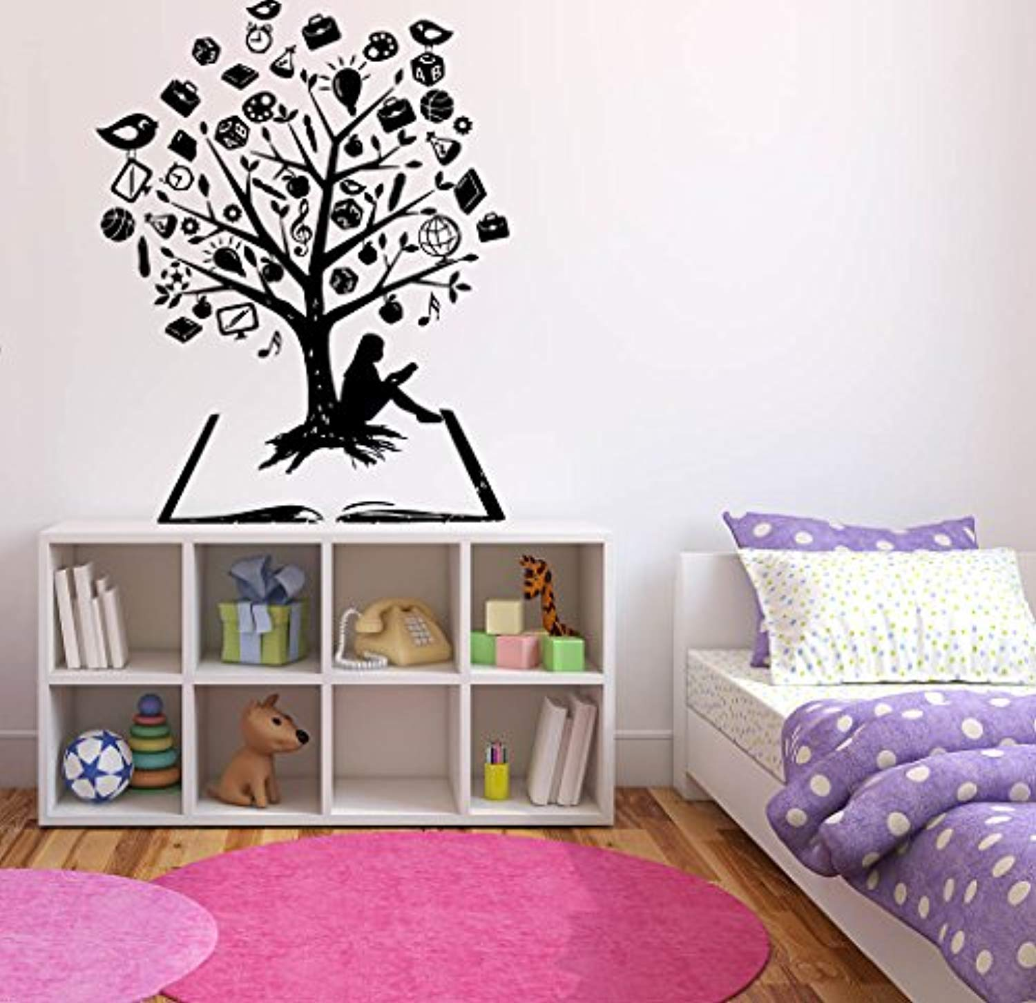 Amazon com window sticker decal tree book roots girl school branches birds living room kids children room decorwall vinyl sk1223 home improvement