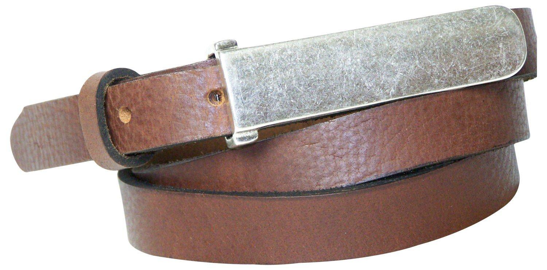 FRONHOFER 1,2cm schmaler Gürtel mit 8 cm silberfarbiger Gürtelschnalle 17574