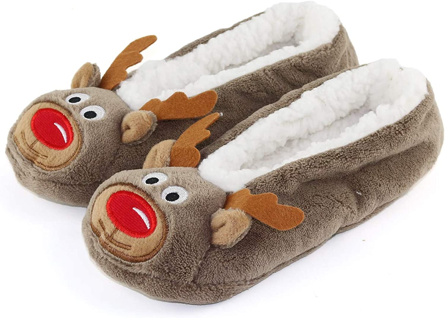 Womens Warm Cozy and Lovely Animal Non-Skid Knit Indoor Home Floor Slippers Socks for Adults Girls