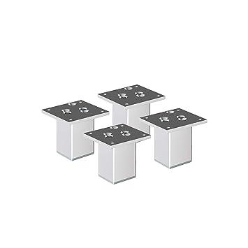 H/öhe: 80mm Farbe: Aluminium 4er Set Aluminium M/öbelf/ü/ße SossaiExklusiv E4MF-N